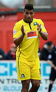 Plymouth Goalscorer Reuben Reid applauds the crowd during the Sky Bet League 2 match between Cheltenham Town and Plymouth Argyle at Whaddon Road, Cheltenham, England on 28 March 2015. Photo by Alan Franklin.