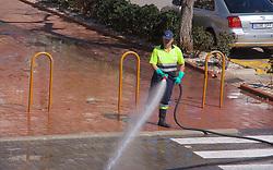 April 18, 2018 - Denia | Denia, Spain | Espagne - High pressure streets cleaning | Nettoyage haute pression 18/04/2018 (Credit Image: © Patrick Lefevre/Belga via ZUMA Press)