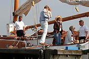 Queen Beratrix, Willem Alexander ,Maxima,  Amalia and Alexia are sailing for the first time this year from Muiden with there sailboat The Groene Dreack (The Green Dragon) .<br />