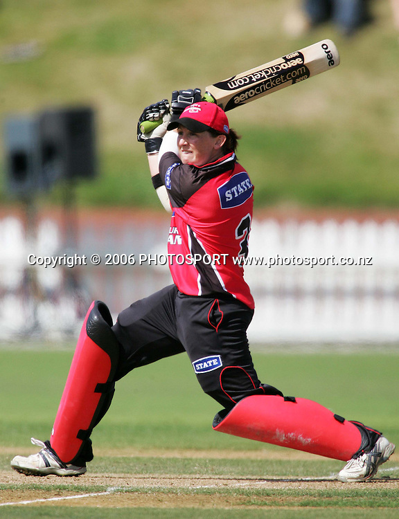 Canterbury opening batsman Maria Fahey in action during the State League womens cricket final between the State Wellington Blaze and the State Canterbury Magicians held at the Basin Reserve in Wellington, New Zealand on Saturday, 27 January, 2007. Canterbury won the match by 8 wickets. Photo: Tim Hales/PHOTOSPORT
