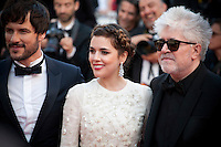 Actor Daniel Grao, Actress Adriana Ugarte and Director Pedro Almodova at the gala screening for the film Julieta at the 69th Cannes Film Festival, Tuesday 17th May 2016, Cannes, France. Photography: Doreen Kennedy