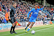 Peterborough midfielder Ivan Toney (17) just keeps the ball in play during the EFL Sky Bet League 1 match between Peterborough United and Burton Albion at London Road, Peterborough, England on 4 May 2019.