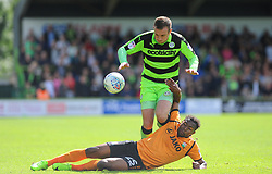 Jean-Louis Akpa Akpro of Barnet tackles Lee Collins of Forest Green Rovers - Mandatory by-line: Nizaam Jones/JMP - 05/08/2017 - FOOTBALL - New Lawn Stadium - Nailsworth, England - Forest Green Rovers v Barnet - Sky Bet League Two