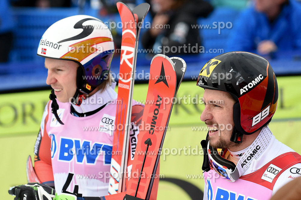 03.12.2017, Beaver Creek, USA, FIS Weltcup Ski Alpin, Beaver Creek, Riesenslalom, Herren, Siegerehrung, im Bild Henrik Kristoffersen (NOR, 2. Platz), Sieger Marcel Hirscher (AUT) // 2nd placed Henrik Kristoffersen of Norway Winner Marcel Hirscher of Austria during the winner Ceremony for the men's Giant Slalom of FIS Ski Alpine World Cup at the Beaver Creek, United Staates on 2017/12/03. EXPA Pictures © 2017, PhotoCredit: EXPA/ Erich Spiess