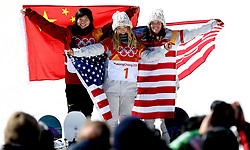 February 12, 2018 - PyeongChang, South Korea - (L-R) LIU JIAYU of China, CHLOE KIM of USA, and ARIELLE GOLD of USA during the venue podium ceremony after Snowboard Ladies' Halfpipe Final at Phoenix Snow Park during the 2018 Pyeongchang Winter Olympic Games. (Credit Image: © Jon Gaede via ZUMA Wire)