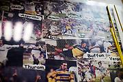 PARMA 2016-12-23:  REPORTAGE PARMA CALCIO.<br /> P&aring; en utst&auml;llning i anslutning till Stadio Ennio Tardini syns gamla spelare i Parma, bl a Brolin, Buffon, Veron och Thuram.<br /> Foto: Nils Petter Nilsson