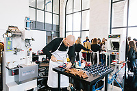 """ROME, ITALY - 15 OCTOBER 2018: Alessandro, a shoemaker artisan working for FENDI, make a shoe during the LVMH Journées Particulières exhibition at the Fendi headquarters in Rome, Italy, on October 15th 2018.<br /> <br /> The LVMH Journées Particulières is is a series of exhibitions that show the creations and history of the LVMH fashion houses. The driving theme behind the Journées Particulières is to allow the general public to discover the inner workings of the Houses which are part of the LVMH heritage.The LVMH Journées Particulières exhibition by fashion house FENDI takes place at their headquarters at the Palazzo della Civiltà Italiana, also called the """"Colosseo Quadrato"""" (Square Colosseum),  an outstanding jewel of the 20th century Roman architecture."""