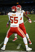 Kansas City Chiefs linebacker Dee Ford (55) works out before the NFL week 12 regular season football game against the Oakland Raiders on Thursday, Nov. 20, 2014 in Oakland, Calif. The Raiders won their first game of the season 24-20. ©Paul Anthony Spinelli