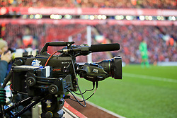 LIVERPOOL, ENGLAND - Sunday, March 8, 2015: A television camera blocks the view of the goal during the FA Cup 6th Round Quarter-Final match between Liverpool and Blackburn Rovers at Anfield. (Pic by David Rawcliffe/Propaganda)