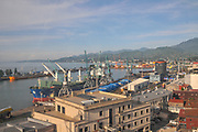 Batumi, Georgia, The view of the city as seen from the Batumi cable car the sea port in the centre