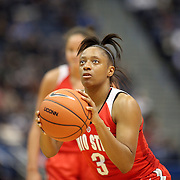HARTFORD, CONNECTICUT- DECEMBER 19: Kelsey Mitchell #3 of the Ohio State Buckeyes takes a free throw  during the UConn Huskies Vs Ohio State Buckeyes, NCAA Women's Basketball game on December 19th, 2016 at the XL Center, Hartford, Connecticut (Photo by Tim Clayton/Corbis via Getty Images)