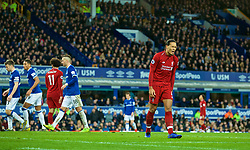 LIVERPOOL, ENGLAND - Sunday, March 3, 2019: Liverpool's Virgil van Dijk looks dejected after missing a chance during the FA Premier League match between Everton FC and Liverpool FC, the 233rd Merseyside Derby, at Goodison Park. (Pic by Paul Greenwood/Propaganda)