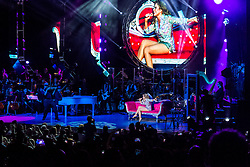 "LOS ANGELES, CA - AUGUST 21: Mexican music diva Gloria Trevi kicked off her El Amor World Tour at the iconic Greek Theatre with material off her new DVD ""El Amor"". She performed with a full orchestra a phenomenal show at the Greek Theatre on August 21, 2015 in Los Angeles, California. Byline, credit, TV usage, web usage or linkback must read SILVEXPHOTO.COM. Failure to byline correctly will incur double the agreed fee. Tel: +1 714 504 6870."