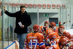 Assistent Coach of HK Acroni Jesenice Dejan Varl during ice-hockey match between HK Acroni Jesenice and HDD Tilia Olimpija in 33rd Round of EBEL league, on Januar 1, 2011 at Dvorana Podmezaklja, Jesenice, Slovenia. (Photo By Matic Klansek Velej / Sportida.com)
