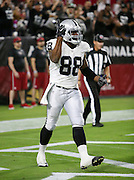 Oakland Raiders tight end Clive Walford (88) celebrates after catching a 19 yard touchdown pass good for a 10-3 first quarter Raiders lead during the 2016 NFL preseason football game against the Arizona Cardinals on Friday, Aug. 12, 2016 in Glendale, Ariz. The Raiders won the game 31-10. (©Paul Anthony Spinelli)