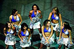 26-08-2005 BASKETBAL: NEDERLAND-BELGIE: GRONINGEN<br /> Nederland kan zich gaan opmaken voor een extra toernooi in Belgrado, waar de laatste strohalm moet worden gepakt ter handhaving in de A-groep. Dat is het gevolg van de 51-62 nederlaag / Chearleaders<br /> ©2005-www.fotohoogendoorn.nl
