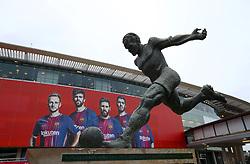 A statue of Statue of Ladislau Kubala Stecz outside Camp Nou stadium