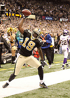 NEW ORLEANS - JANUARY 24: Devery Henderson #19  of the New Orleans Saints celebrates a touchdown against the Minnesota Vikings at the NFC Championship Game at the Louisiana Superdome on January 24, 2010 in New Orleans, Louisiana. The Saints won 31-28 in overtime to advance to the Super Bowl for the first time. Photo by Tom Hauck.