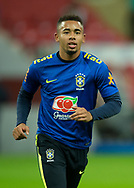 Gabriel Jesus of Brazil warms up before during the International Friendly match between England and Brazil at Wembley Stadium, London, England on 14 November 2017. Photo by Vince Mignott.
