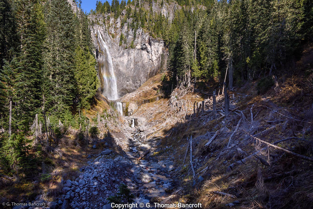 The water drops almost 300 feet over the middle section of Comet Falls and then another 20 feet below that before it runs down Van Trump Creek.