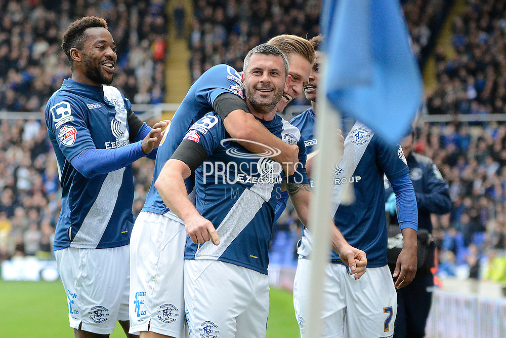 Birmingham City defender Paul Robinson celebrates equaliser during the Sky Bet Championship match between Birmingham City and Queens Park Rangers at St Andrews, Birmingham, England on 17 October 2015. Photo by Alan Franklin.