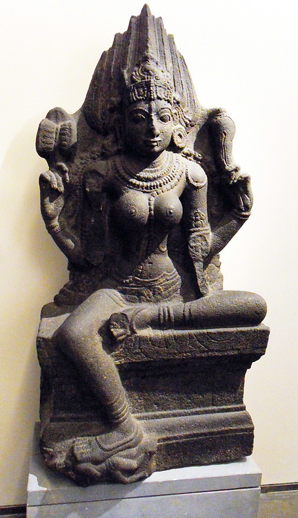 Hindu Goddess Kali sitting sukhasana 14th century, 15th century, Dravidian basalt sculpture from India