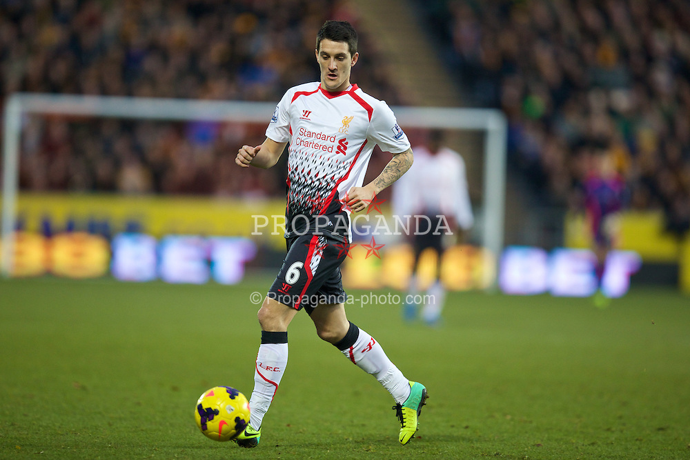 HULL, ENGLAND - Sunday, December 1, 2013: Liverpool's Luis Alberto in action against Hull City during the Premiership match at the KC Stadium. (Pic by David Rawcliffe/Propaganda)