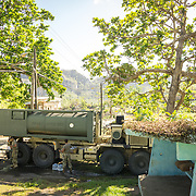 OCTOBER 25 - UTUADO, PUERTO RICO - <br /> A water truck with 2,000 gallons of potable water parked near a baseball park in Utuado. Troops from Fort Bragg, NC, are using a water filtration system to purify water from the nearby Lago Dos Bocas.<br /> (Photo by Angel Valentin/Freelance)