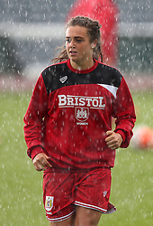 Jodie Brett of Bristol City Women warms up in heavy rain - Mandatory by-line: Robbie Stephenson/JMP - 25/06/2016 - FOOTBALL - Stoke Gifford Stadium - Bristol, England - Bristol City Women v Oxford United Women - FA Women's Super League 2
