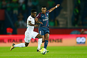 Paris Saint Germain's French defender Presnel Kimpembe vies during the French championship L1 football match between Paris Saint-Germain (PSG) and Saint-Etienne (ASSE), on August 25, 2017 at the Parc des Princes in Paris, France - Photo Benjamin Cremel / ProSportsImages / DPPI