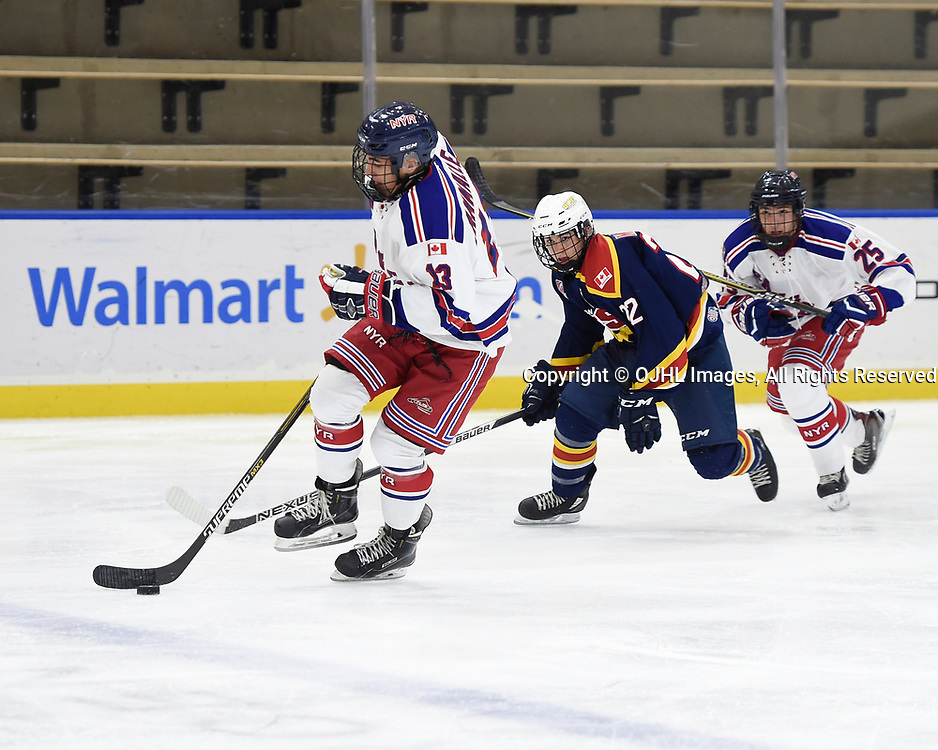 BUFFALO, NY - SEP 19,  2017: Ontario Junior Hockey League Governors Showcase game between the Wellington Dukes and the North York Rangers, Josh Cammalleri #13 of the North York Rangers keeps the puck from Mitchell Martan #22 of the Wellington Dukes during the second period.<br /> (Photo by Andy Corneau / OJHL Images)