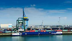 A container ship being loaded in the port of Zeebrugge, Belgium.<br /> <br /> (c) Andrew Wilson | Edinburgh Elite media