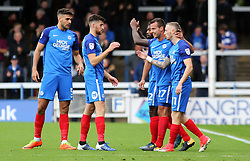 Marcus Maddison of Peterborough United (right) is congratulated by team-mates after scoring - Mandatory by-line: Joe Dent/JMP - 28/10/2017 - FOOTBALL - ABAX Stadium - Peterborough, England - Peterborough United v Shrewsbury Town - Sky Bet League One