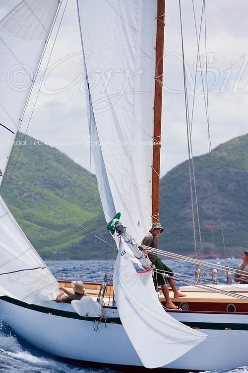 Genesis sailing in the 2010 Antigua Classic Yacht Regatta, Windward Race, day 4.