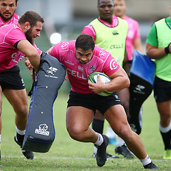 DURBAN, SOUTH AFRICA - MAY 15: Juan Schoeman of the Cell C Sharks during the Cell C Sharks training session at Jonsson Kings Park on May 15, 2018 in Durban, South Africa. (Photo by Steve Haag/Gallo Images)