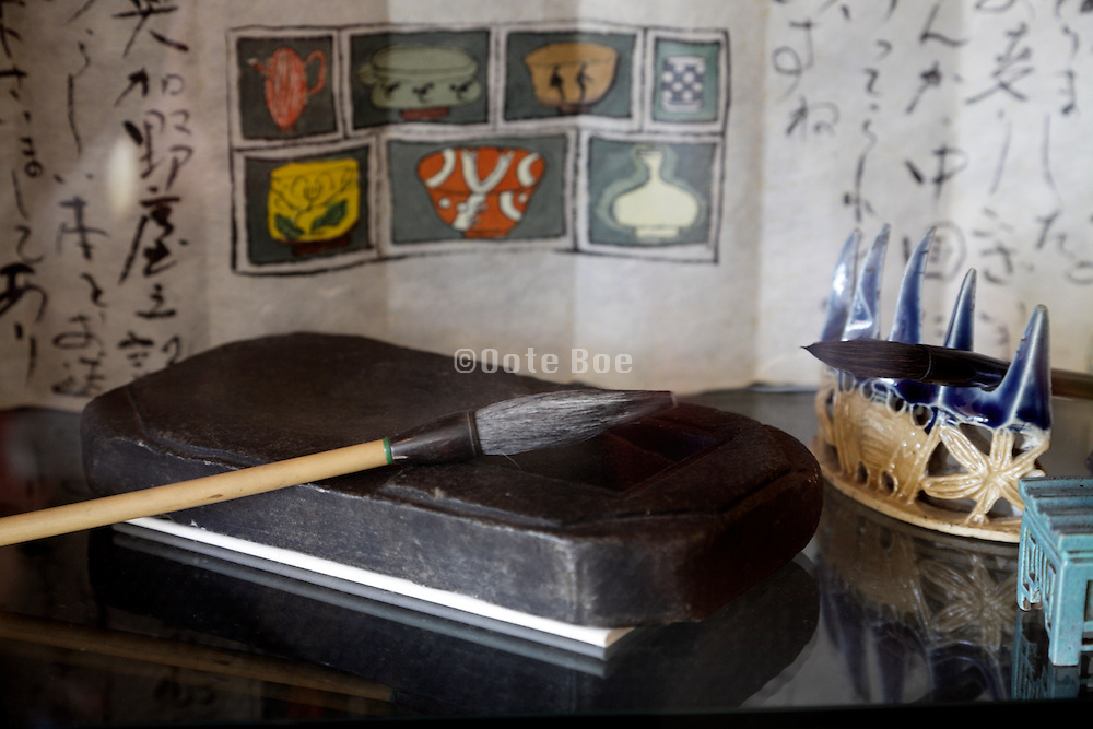 ink stone and calligraphy brush still life Japan