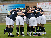 Dundee go into a huddle before kick off - Stirling Albion v Dundee, IRN BRU Scottish League 1st Division, Forthbank Stadium, Stirling<br /> <br />  - &copy; David Young<br /> ---<br /> email: david@davidyoungphoto.co.uk<br /> http://www.davidyoungphoto.co.uk