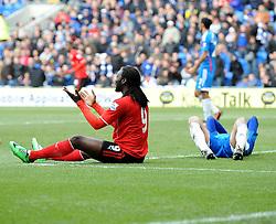 Cardiff City's Kenwyne Jones appeals for a penalty - Photo mandatory by-line: Joe Meredith/JMP - Tel: Mobile: 07966 386802 22/02/2014 - SPORT - FOOTBALL - Cardiff - Cardiff City Stadium - Cardiff City v Hull City - Barclays Premier League