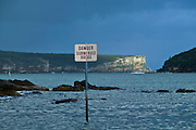 Danger Sign, Submerged Rocks. Balmoral Beach, Sydney Harbour, East Coast Australia