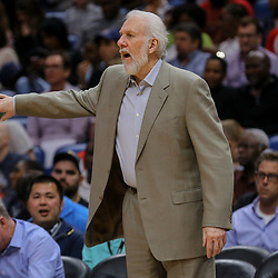 Apr 11, 2018; New Orleans, LA, USA; San Antonio Spurs head coach Gregg Popovich against the New Orleans Pelicans during the second half at the Smoothie King Center. The Pelicans defeated the Spurs 122-98. Mandatory Credit: Derick E. Hingle-USA TODAY Sports