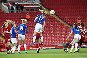 Everton women midfielder Lucy Graham (17) heads clear from the corner during the FA Women's Super League match between Liverpool Women and Everton Women at Anfield, Liverpool, England on 17 November 2019.