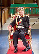 Antic Disposition present<br /> Richard III<br /> by William Shakespeare<br /> at the Temple Church, London, Great Britain <br /> Press photography <br /> 23rd August 2017 <br /> <br /> Toby Manley as Richard III<br />  <br /> <br /> <br /> Directors<br /> Ben Horslen<br /> John Risebero<br /> Designer<br /> John Risebero<br /> Lighting Designer<br /> Tom Boucher<br /> &nbsp;<br /> Composer<br /> James Burrows<br /> &nbsp;<br /> Fight Director<br /> Bethan Clark&nbsp;of Rc-Annie Ltd.<br /> &nbsp;<br /> Stage Manager<br /> Damien Stanton<br /> &nbsp;<br /> Technical Stage Manager<br /> Angus Chisholm<br /> <br /> Photograph by Elliott Franks <br /> Image licensed to Elliott Franks Photography Services