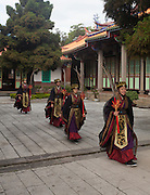 The Ya Yue Dance is an ancient Chinese dance performed during ceremonies. The Yi dance shown here is a procession of music and dance in memory of the great sage Confucius. The dance is usually performed only on the anniversary of Confucius' birth (September 28th), however it is occasionally performed on other important secular occasions.