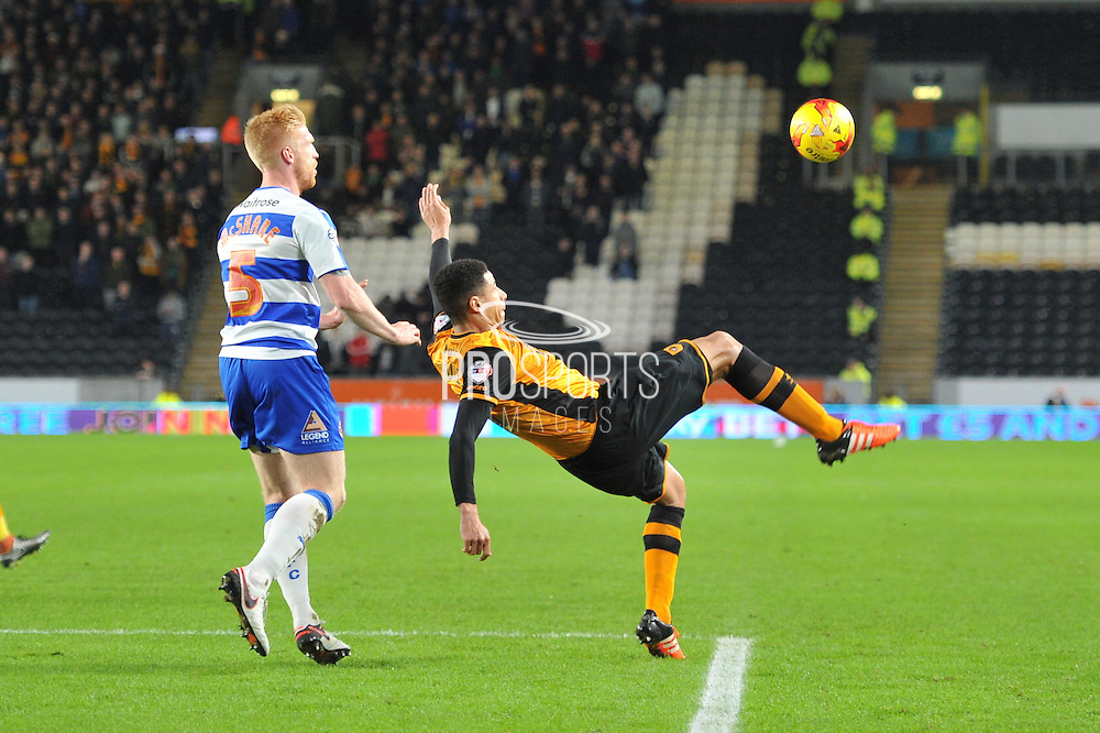 Hull City defender Curtis Davies tries for a goal overhead kick during the Sky Bet Championship match between Hull City and Reading at the KC Stadium, Kingston upon Hull, England on 16 December 2015. Photo by Ian Lyall.