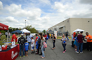 A crowd gathers outside the YMCA during YMCA 'Healthy Kids Day'  Saturday April 30, 2016 in Mt. Laurel, New Jersey.  (Photo by William Thomas Cain)