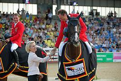 Ahlmann Christian, (GER), Taloubet Z<br /> Leyen, Ursula von der<br /> CSIO Nations Cup - Mannheim 2015<br /> © Hippo Foto - Stefan Lafrentz