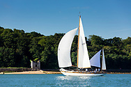 Barney Sanderman's yawl Laughing Gull competing in Cowes during the Panerai British Classic Sailing Week regatta. <br /> Picture date: Monday July 10, 2017.<br /> Photograph by Christopher Ison &copy;<br /> 07544044177<br /> chris@christopherison.com<br /> www.christopherison.com