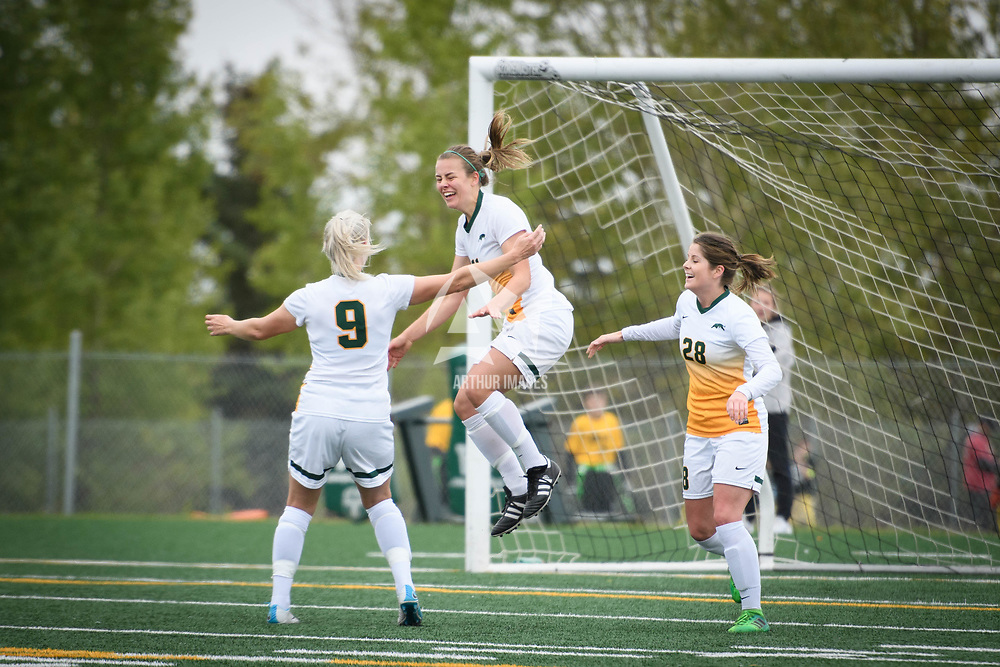 3rd year forward Kirsten Finley (11) of the Regina Cougars during the Women's Soccer Homeopener on September 16 at U of R Field. Credit: Arthur Ward/Arthur Images
