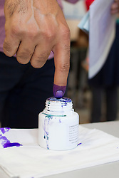 LNP Weekly Highlights 02/05/14. FILE PICTURE. © Licensed to London News Pictures. 30/04/2014. Sulaimaniya, Iraq. An Iraqi-Kurdish male dips his finger in ink after voting at a school during the 2014 Iraqi parliamentary elections in Sulaimaniya, Iraqi-Kurdistan today (30/04/2014). <br /> <br /> The period leading up to the elections, the fourth held since the 2003 coalition forces invasion, has already seen polling stations in central Iraq hit by suicide bombers causing at least 27 deaths. Photo credit: Matt Cetti-Roberts/LNP