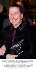 GERALDINE NORMAN Executive Director, hermitage Rooms at Somerset House, at an exhibition in London on 21st November 2000.OJG 179 woro